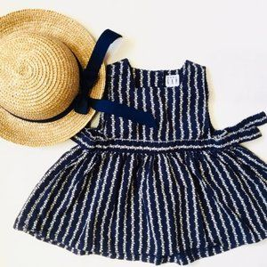 Baby Gap Navy Pinafore Dress and Straw Hat